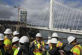Leah Robinson-Leach speaks to media on the old Bay Bridge on Thursday, September 25, 2014.