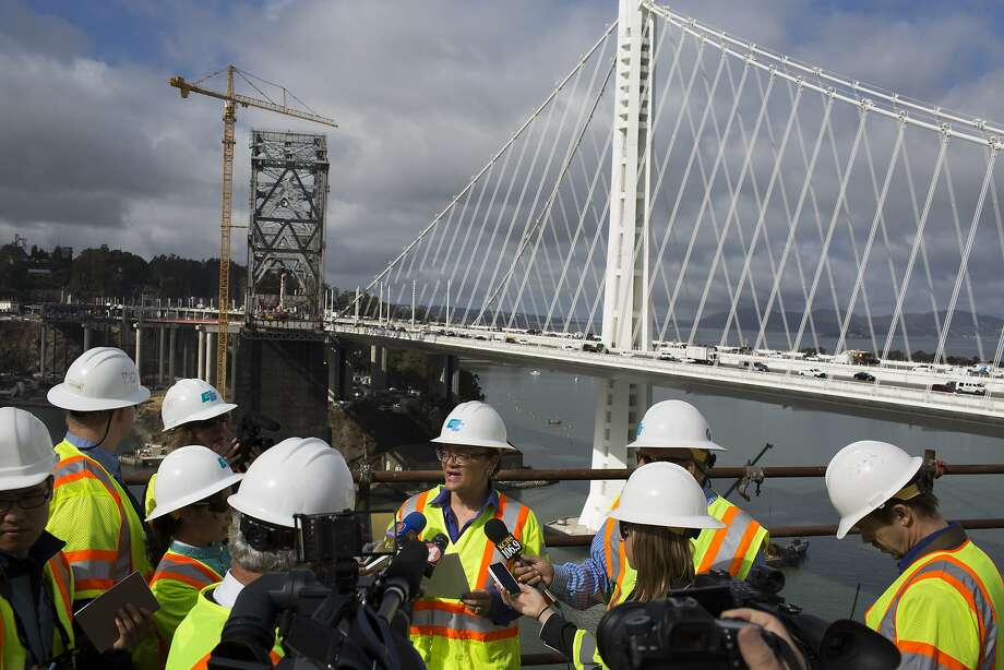 Leah Robinson-Leach speaks to media on the old Bay Bridge on Thursday, September 25, 2014. Photo: Tim Hussin, Special To The Chronicle