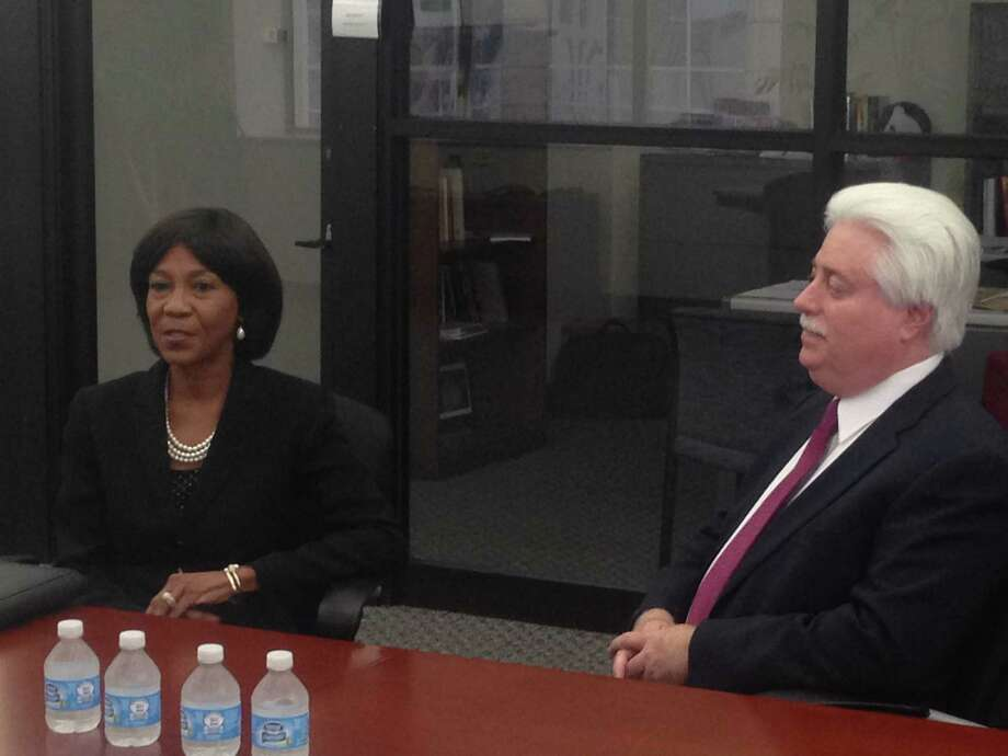 Harris County Clerk Stan Stanart, a Republican, is seen here with Democratic opponent Ann  Harris Bennett, as they meet with the Houston Chronicle editorial board for a candidate screening. The editorial board endorsed Stanart.
