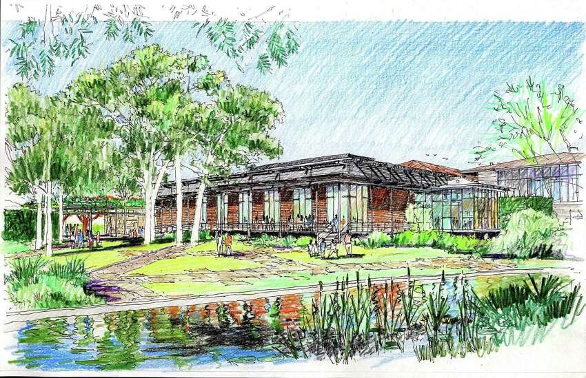 This artist's rendering depicts the riverside view of the Mays Center, which will be a new structure on the Witte campus.