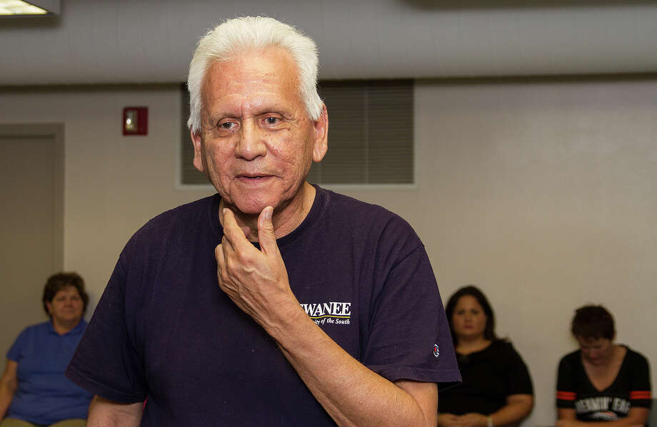 "Gregg Barrios, a Vietnam veteran, at the rehearsal of ""Telling: San Antonio,"" a show in which military veterans and their families share their stories, Thursday, Sept. 18, 2014 at KLRN Studios. Photo: Photo By Alma E. Hernandez / For The San"