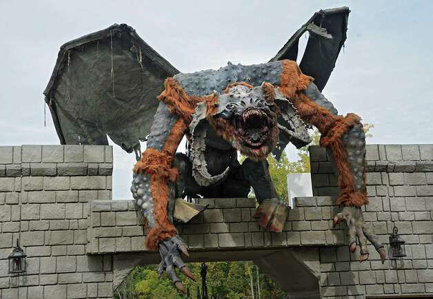 An animated talking monster greets people at the ticket booth for the Halloween season at Capital Combat Zone and The Field of Horrors on Thursday, Sept. 25, 2014 in Brunswick, N.Y. (Lori Van Buren / Times Union) Photo: Lori Van Buren / 00028765A