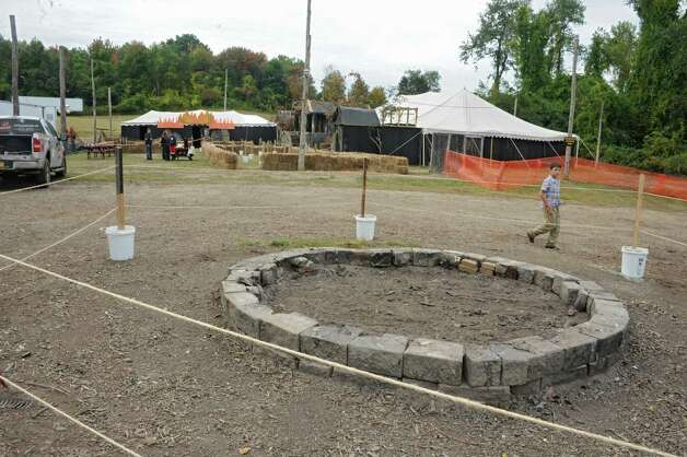 A bonfire will be burning in this giant fire pit for the Halloween season at Capital Combat Zone and The Field of Horrors on Thursday, Sept. 25, 2014 in Brunswick, N.Y. (Lori Van Buren / Times Union) Photo: Lori Van Buren / 00028765A