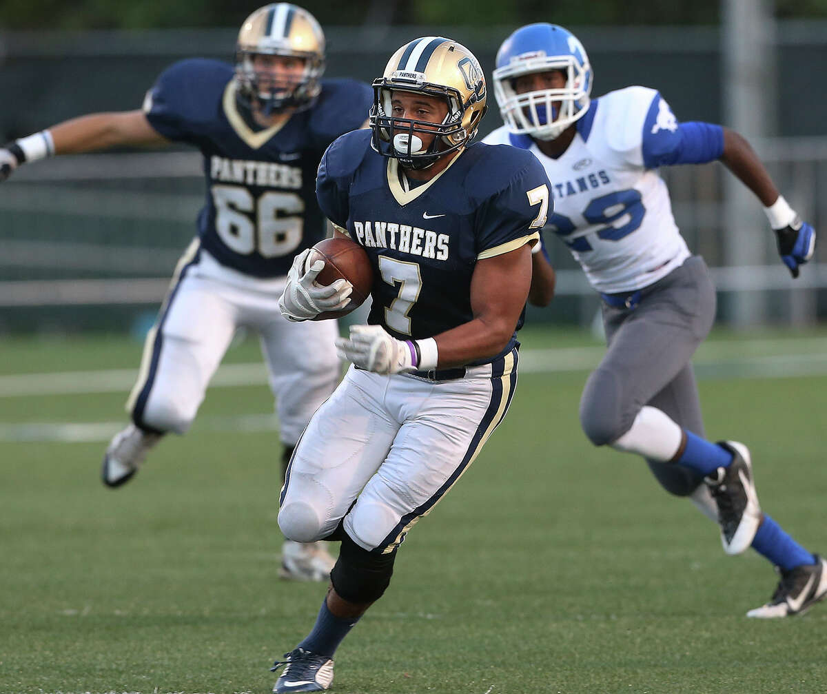 Brandin Bradford runs for a long touchdown on the first play of the game for the Panthers as O'Connor hosts Jay at Farris stadium on September. 25, 2014.