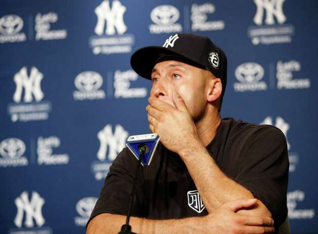 New York Yankees' Derek Jeter gets emotional during a news conference after his final baseball game at Yankee Stadium in New York, Thursday, Sept. 25, 2014. The Yankees won the game on Jeter's RBI single in the ninth inning. (AP Photo/Kathy Willens) ORG XMIT: NYY201 Photo: Kathy Willens / AP