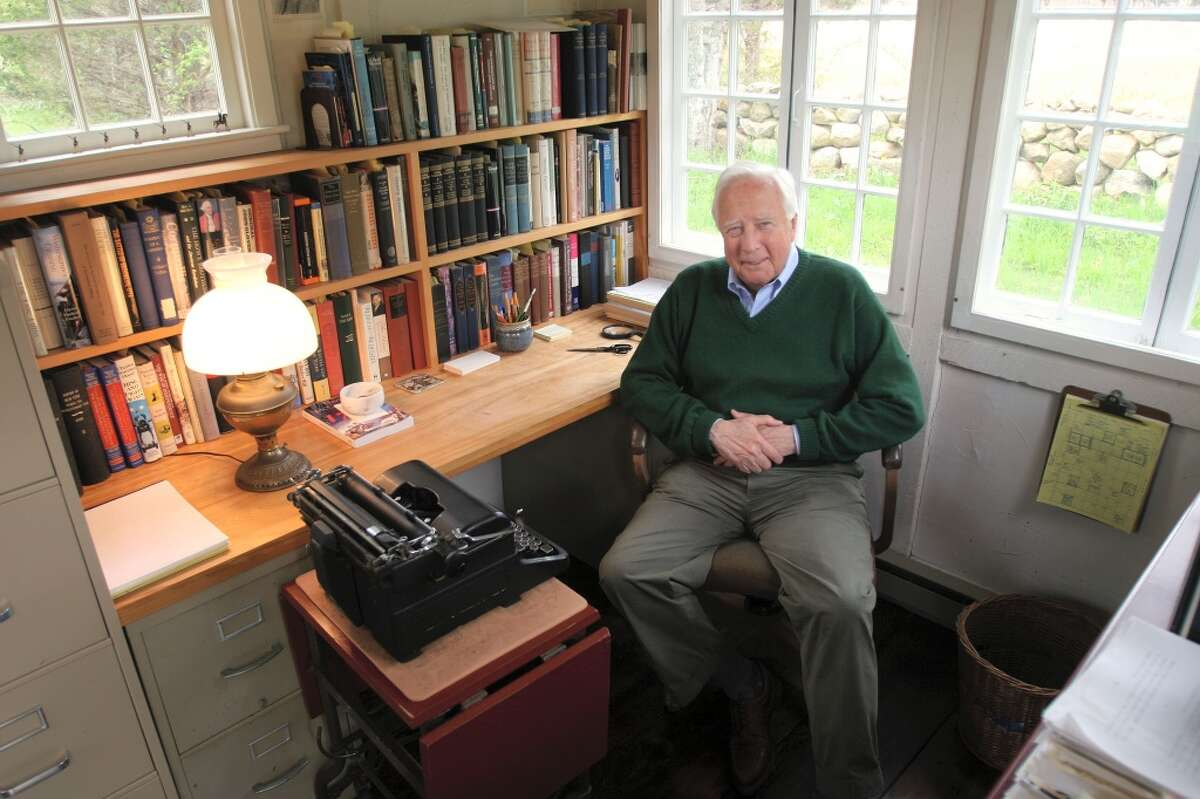 Historian David McCullough in his writing shed he built in the back yard of his home in West Tisbury, Mass.