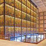 Yale University's Beinecke Rare Book & Manuscript Library (1963) is one of the largest rare book libraries in the world.