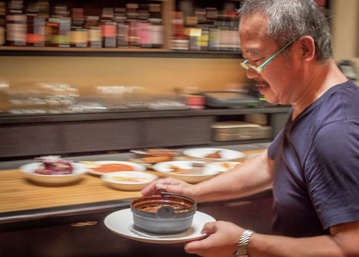 Chef Hiro Sone makes lamb cassoulet at Urchin Bistrot in San Francisco.