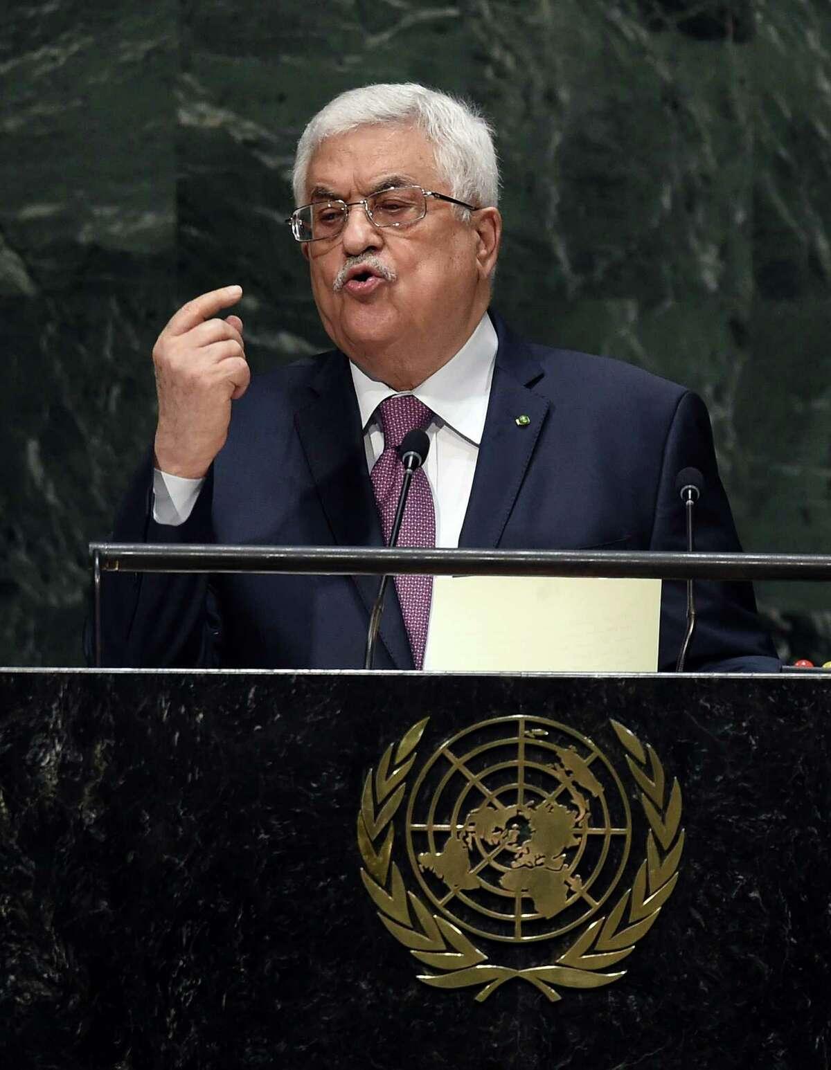 Palestinian President Mahmoud Abbas addresses the U.N. General Assembly.