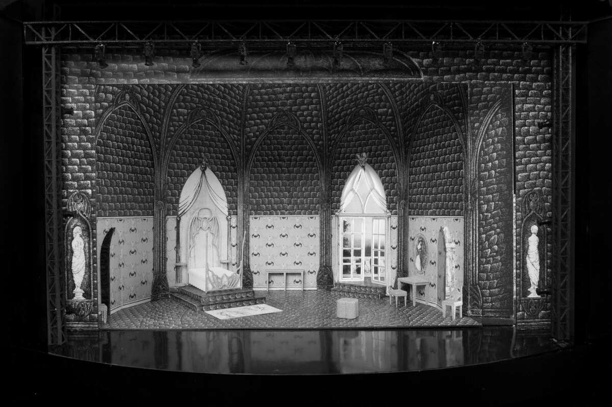 """Photo of the Act II Set Model for """"Dracula,"""" designed by Edward Gorey. Photo by Mike McCormick."""