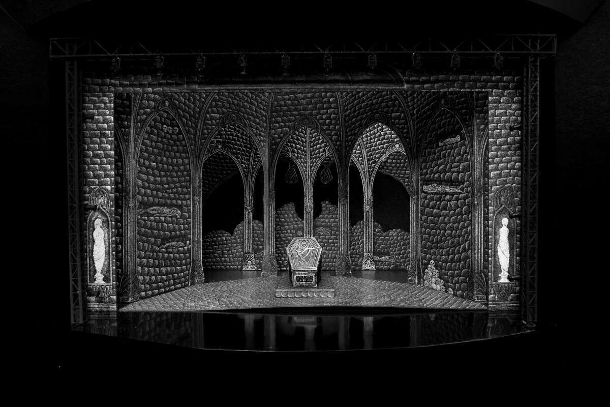 """Photo of the Act III Set Model for """"Dracula,"""" designed by Edward Gorey. Photo by Mike McCormick."""