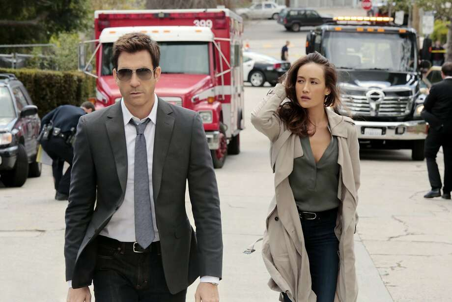 """This image released by CBS shows Dylan McDermott, left, and Maggie Q in psychological thriller """"Stalker,"""" premiering Oct. 1. (AP Photo/CBS, Richard Cartwright) Photo: Richard Cartwright, Associated Press"""