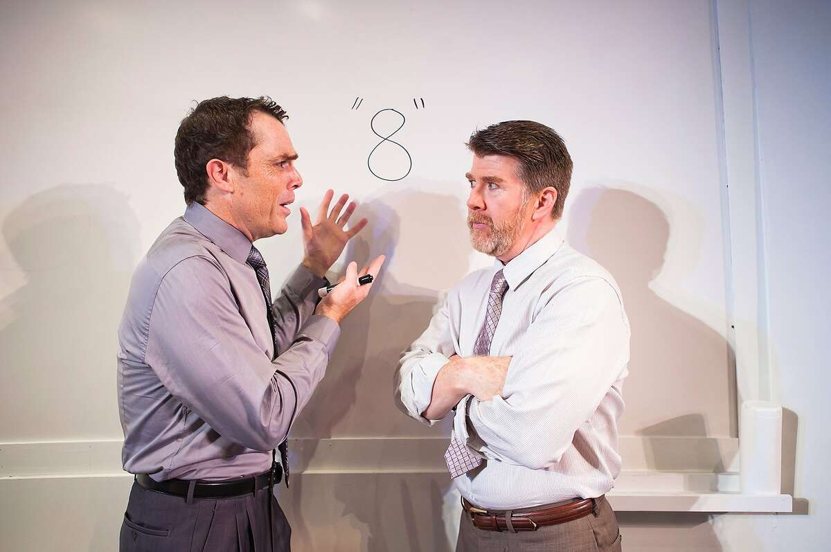 Ted (Michael Ray Wisely, right) and Brock (Mark Anderson Phillips) try to quantify the mysterious project in