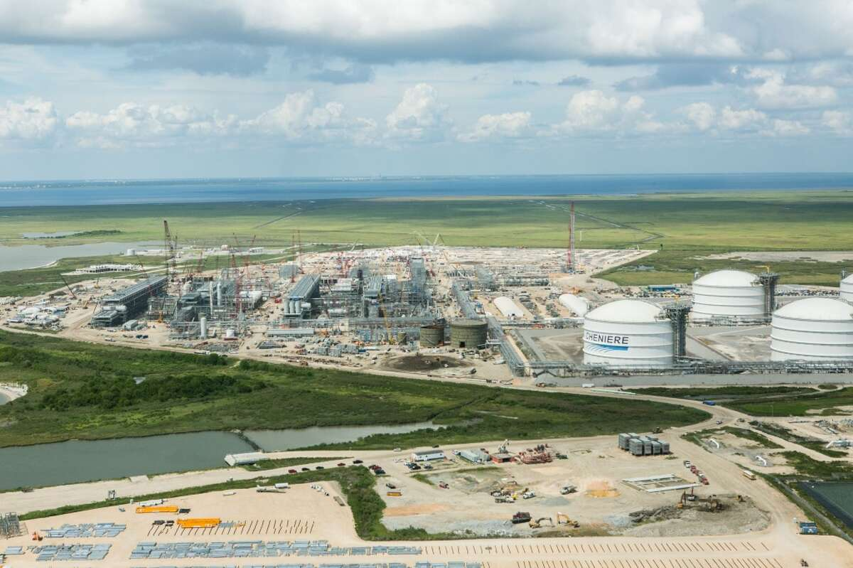 Work continues on the four production units, called trains, at Cheniere Energy's Sabine Pass liquefied natural gas export terminal in Cameron Parish, Louisiana. (Photo courtesy Cheniere Energy)