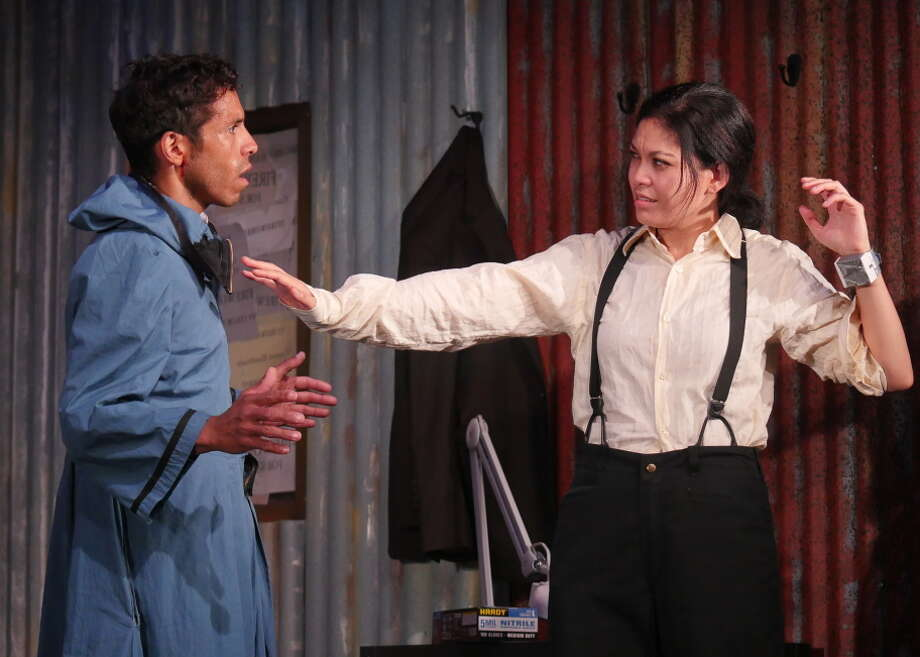 Ben (Aleph Ayin) and Ana (Rinabeth Apostol) argue when  a bomb goes off in their town in Lauren Gunderson's drama. Photo: Adam Tolbert / ONLINE_YES