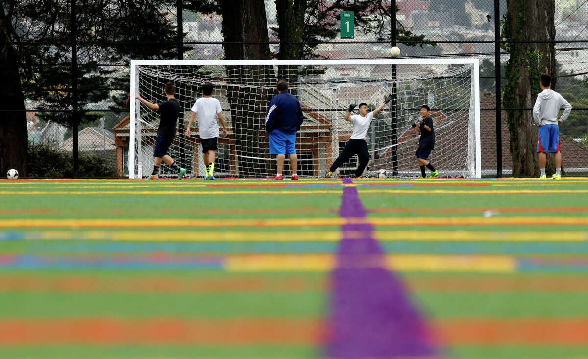 San Francisco Christian High School soccer practice is on artificial turf at the Minnie and Lovie Ward Rec Center.