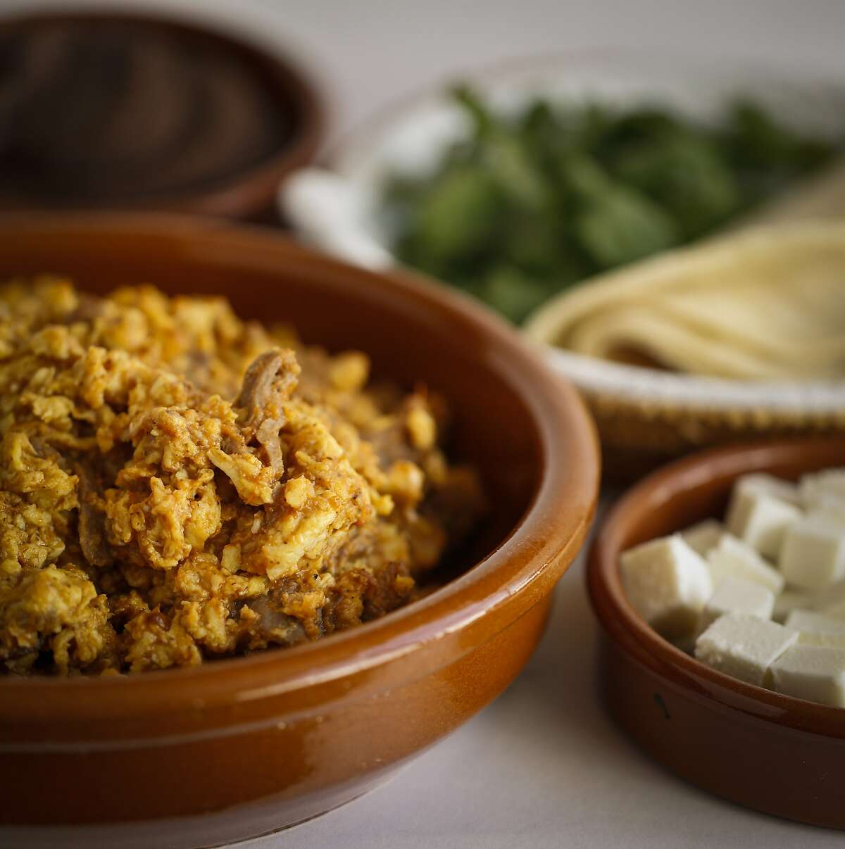 Aporreadillo (eggs scrambled with cecina (air-dried beef) from Gonzalo Rivera, Jr. of Copita is seen on Tuesday, Sept. 23, 2014 in San Francisco, Calif. The dish comes from the Michoacan region of Mexico.