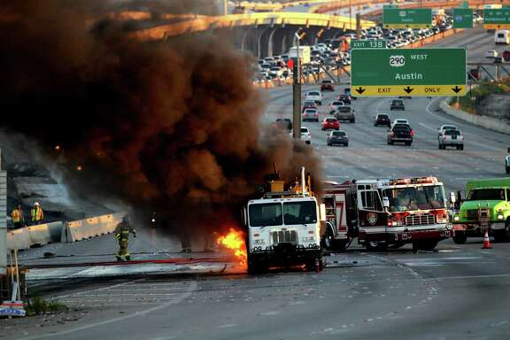 Rush-hour traffic came to a standstill early Friday on the West Loop after a road-striping truck caught fire. Such incidents are on the rise.