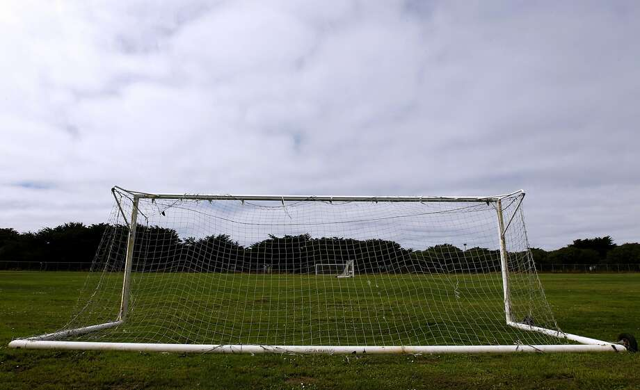 Soccer goals are seen at the Beach Chalet soccer fields at Golden Gate Park in San Francisco, Calif. on Wednesday, Sept. 24, 2014. Voters will choose from two dueling measures on the November ballot which will determine if the popular grass fields will be replaced with artificial turf. Photo: Paul Chinn, The Chronicle