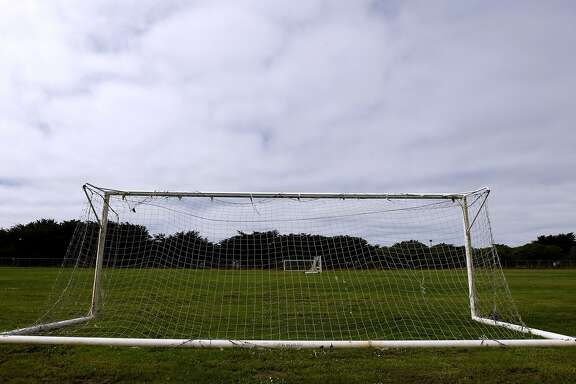 Soccer goals are seen at the Beach Chalet soccer fields at Golden Gate Park in San Francisco, Calif. on Wednesday, Sept. 24, 2014. Voters will choose from two dueling measures on the November ballot which will determine if the popular grass fields will be replaced with artificial turf.