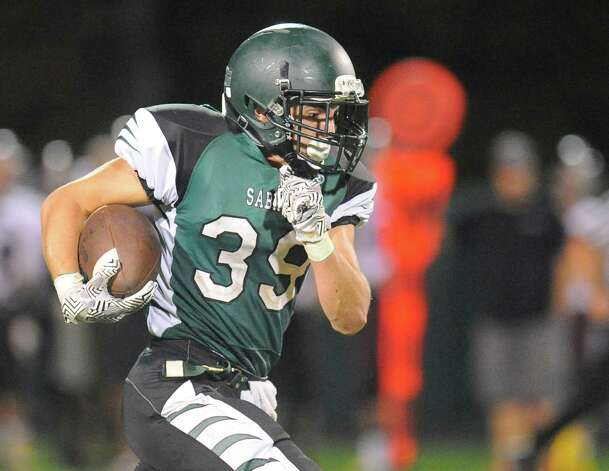 Schalmont quarterback Nick Gallo runs for a touchdown against Burnt Hills-Ballston Lake during the first half of their Section II game on Friday, Sept. 26, 2014, in Rotterdam, N.Y., (Hans Pennink / Special to the Times Union) ORG XMIT: HP1111 Photo: Hans Pennink / Hans Pennink