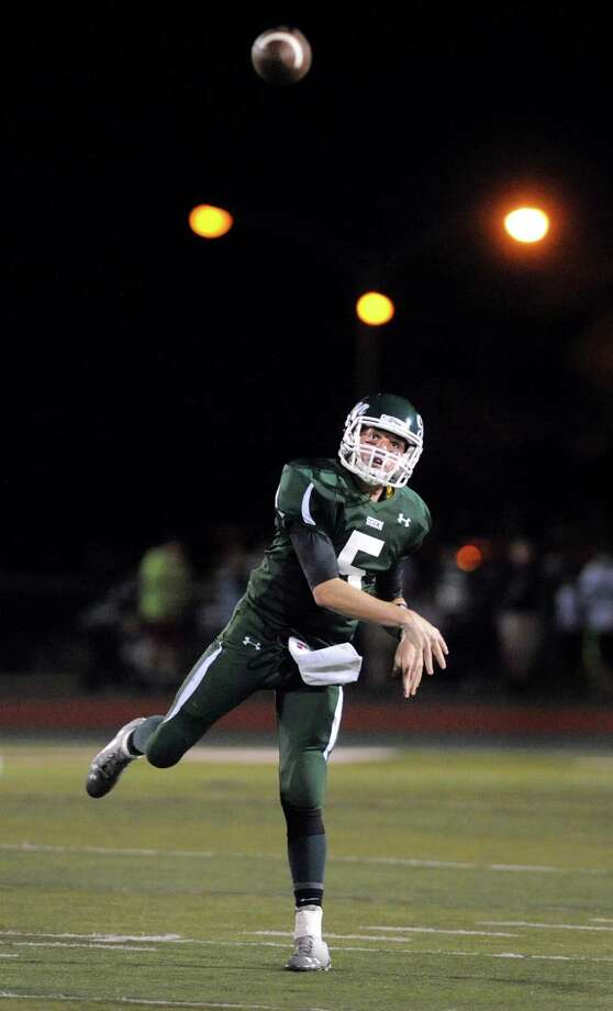 Shen's quarterback Ryan Van Galen lets loose a pass during their football game against Saratoga on Friday, Sept. 26, 2014, at Shenendehowa High in Clifton Park, N.Y. (Cindy Schultz / Times Union) Photo: Cindy Schultz / 00028776A
