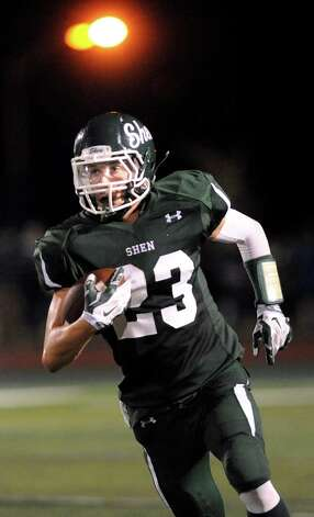 Shen's Jordan Zlogar carries the ball during their football game against Saratoga on Friday, Sept. 26, 2014, at Shenendehowa High in Clifton Park, N.Y. (Cindy Schultz / Times Union) Photo: Cindy Schultz / 00028776A