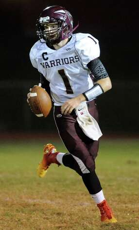 Stillwater's quarterback Schyler Radliff looks to pass during their football game against Mechanicville on Friday, Sept. 26, 2014, at Mechanicville High in Mechanicville, N.Y. (Cindy Schultz / Times Union) Photo: Cindy Schultz / 00028775A