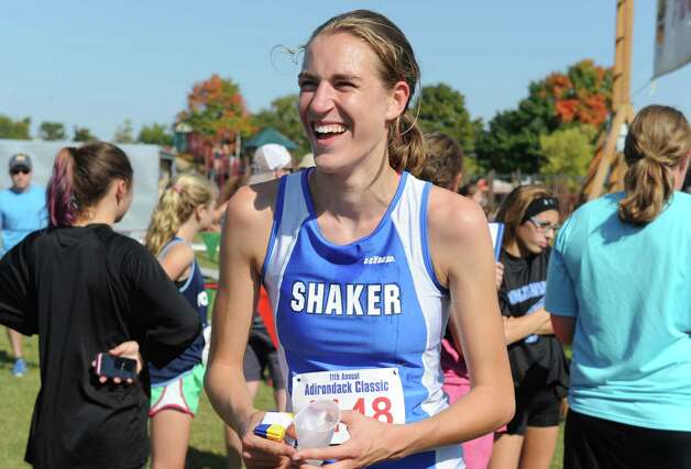 Shaker's Maryanna Lansing after winning the girls's varsity division one portion of the Queensbury Invitational Cross Country meet on Saturday Sept. 27, 2014 in Queensbury, N.Y.  (Michael P. Farrell/Times Union) Photo: Michael P. Farrell / 00028749A