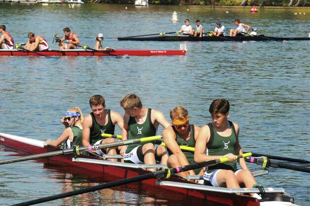 The Shenendehowa High School crew team heads out in a quad boat during the Tail of the Fish Regatta on Saturday Sept. 27, 2014 in Saratoga Springs, N.Y.  (Michael P. Farrell/Times Union) Photo: Michael P. Farrell