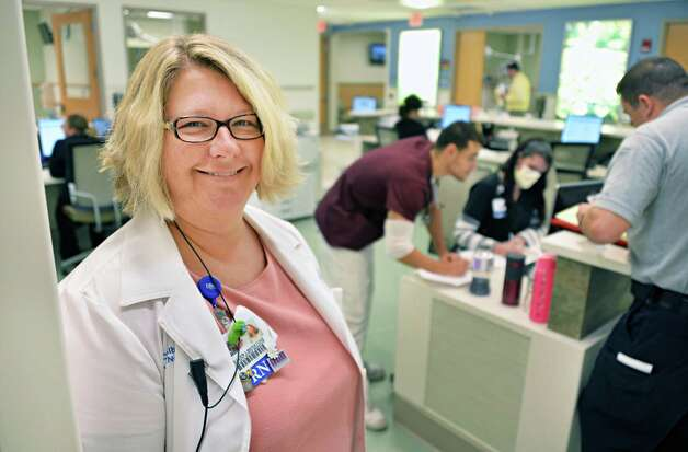 Nurse manager at Elllis Hospital's new Emergency Care Center, Colleen Liberatore at a new care team station Thursday Sept. 18, 2014, in Schenectady, NY.  (John Carl D'Annibale / Times Union) Photo: John Carl D'Annibale / 00028570A