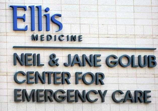 Sign at Ellis Hospital's new Emergency Care Center Thursday Sept. 18, 2014, in Schenectady, NY.  (John Carl D'Annibale / Times Union) Photo: John Carl D'Annibale / 00028570A