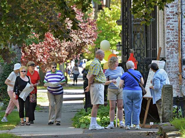 Union Street's sidewalks fill will visitors during the 2014 Stockade Walkabout Saturday Sept. 27, 2014, in Schenectady, NY.  (John Carl D'Annibale / Times Union) Photo: John Carl D'Annibale / 10028795A