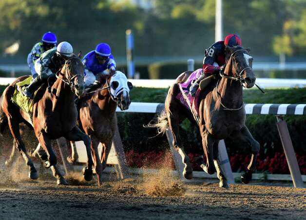 Tonalist with jockey Joel Rosario put away the field of 11 contestants to win the 96th running of The Jockey Club Gold Cup Saturday evening Sept. 27, 2014, at Belmont Park in Elmont, N.Y.    (Skip Dickstein/Times Union) Photo: SKIP DICKSTEIN
