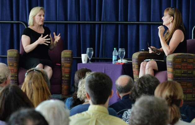 Kirsten Gillibrand,left, U.S. Senator and author, is interviewed Marion Roach Smith during a NYS Writer's Institute Visiting Authors series at UAlbany Saturday Sept. 27, 2014, in Albany, NY.  (John Carl D'Annibale / Times Union) Photo: John Carl D'Annibale / 10028796A