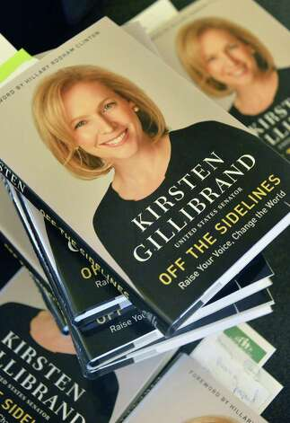U.S. Senator Kirsten Gillibrand's book offered for sale at her appearance for a NYS Writer's Institute Visiting Authors series at UAlbany Saturday Sept. 27, 2014, in Albany, NY.  (John Carl D'Annibale / Times Union) Photo: John Carl D'Annibale / 10028796A