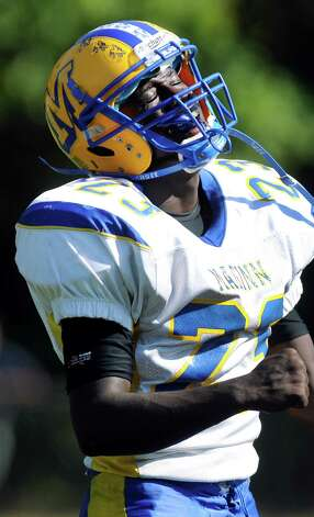Bishop Maginn's Ky'Ere Tillery reacts when he misses a pass during their football game against Averill Park on Saturday, Sept. 27, 2014, at Averill Park High in Averill Park, N.Y. (Cindy Schultz / Times Union) Photo: Cindy Schultz / 00028729A
