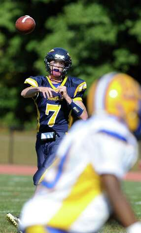 Averill Park's quarterback Timothy Vermilya throws a pass during their football game on Saturday, Sept. 27, 2014, at Averill Park High in Averill Park, N.Y. (Cindy Schultz / Times Union) Photo: Cindy Schultz / 00028729A