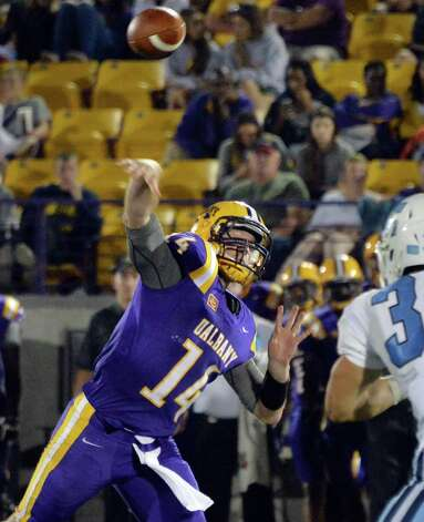 UAlbany's QB Will Fiacchi fires off a pass during Saturday's game against Columbia at Bob Ford Field in Albany, NY.  (John Carl D'Annibale / Times Union) Photo: John Carl D'Annibale / 00028710A