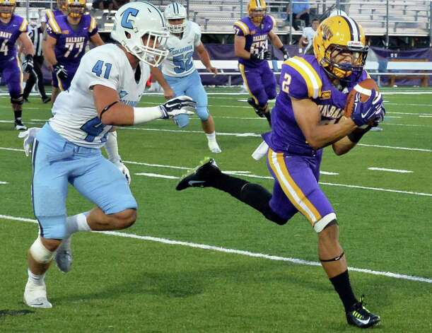UAlbany's #2, Josh Gontarek, catches a Will Fiacchi pass  during Saturday's game against  Columbia at Bob Ford Field in Albany, NY.  (John Carl D'Annibale / Times Union) Photo: John Carl D'Annibale / 00028710A