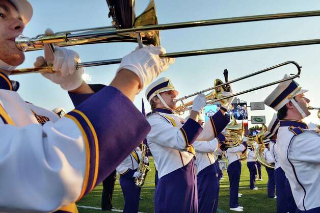 UAlbany's marching band performs the National Anthem at the start of Saturday's game against  Columbia at Bob Ford Field in Albany, NY.  (John Carl D'Annibale / Times Union) Photo: John Carl D'Annibale / 00028710A