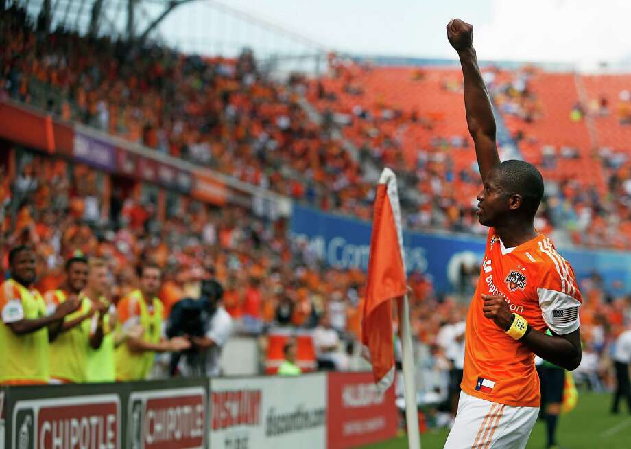 Houston Dynamo midfielder Boniek Garcia reacts after scoring a goal against the Chicago Fire during the second half of MSL soccer game action at BBVA Compass Stadium Sunday, Sept. 28, 2014, in Houston. Photo: James Nielsen, Houston Chronicle / © 2014  Houston Chronicle