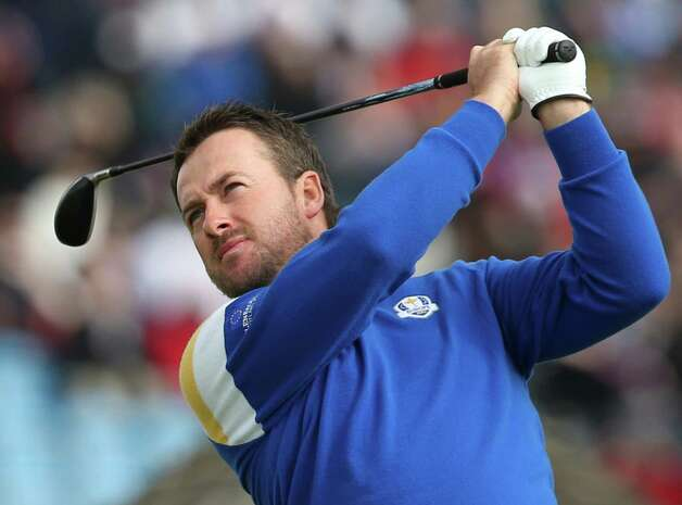 Europe's Graeme McDowell plays a shot off the 3rd tee during the singles match on the final day of the Ryder Cup golf tournament, at Gleneagles, Scotland, Sunday, Sept. 28, 2014. (AP Photo/Peter Morrison) ORG XMIT: RCUP163 Photo: Peter Morrison / AP