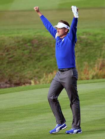 Ian Poulter celebrates Europe winning the  2014 Ryder Cup golf tournament, at Gleneagles, Scotland, Sunday, Sept. 28, 2014. (AP Photo/Scott Heppell) ORG XMIT: RCUP202 Photo: Scott Heppell / AP
