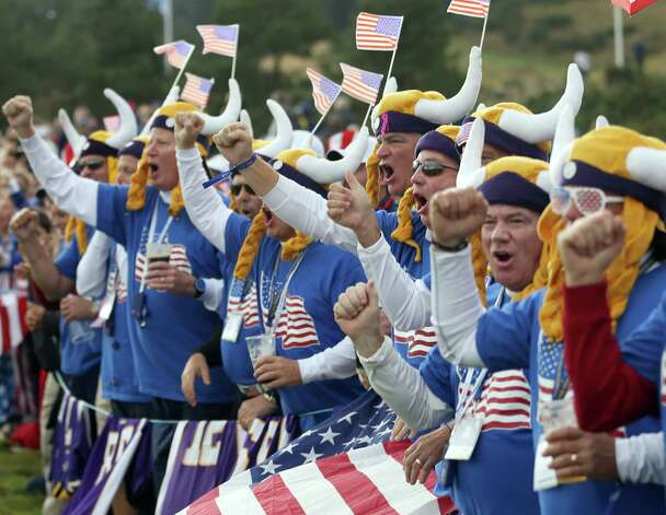 NFL Minnesota Vikings fans cheer during the singles matches on the final day of the Ryder Cup golf tournament, at Gleneagles, Scotland, Sunday, Sept. 28, 2014. (AP Photo/Peter Morrison) ORG XMIT: RCUP175 Photo: Peter Morrison / AP