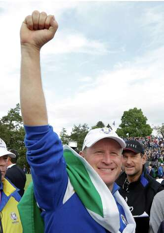 Europe's Jamie Donaldson celebrates winning his singles match to win the 2014 Ryder Cup golf tournament at Gleneagles, Scotland, Sunday, Sept. 28, 2014. (AP Photo/Matt Dunham) ORG XMIT: RCUP221 Photo: Matt Dunham / AP