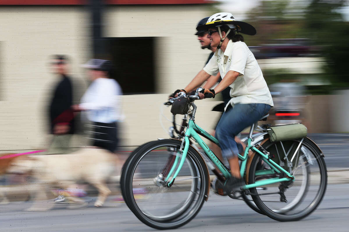 Cyclists and pedestrians use Broadway Street during this year's Siclovia.