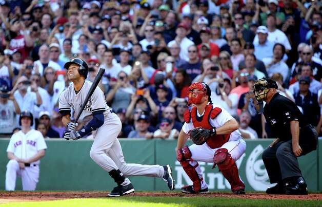 BOSTON, MA - SEPTEMBER 28:  Derek Jeter #2 of the New York Yankees hits a single for his last career at bat in the third inning against the Boston Red Sox during the last game of the season at Fenway Park on September 28, 2014 in Boston, Massachusetts.  (Photo by Al Bello/Getty Images) ORG XMIT: 477590757 Photo: Al Bello / 2014 Getty Images