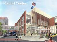 The final rendering of the $66.5 million Albany Capital Center set to rise off 55 Eagle St. starting as soon as next month. The image, drawn by project architect HNTB, was released Friday by the Albany Convention Center Authority. (Albany Convention Center Authority)