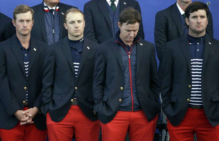 U.S. Ryder Cup players Webb Simpson (from left), Texas-ex Jordan Spieth, Boerne's Jimmy Walker and Bubba Watson stand during the trophy presentation after Europe's victory. Photo: Matt Dunham / Associated Press / AP